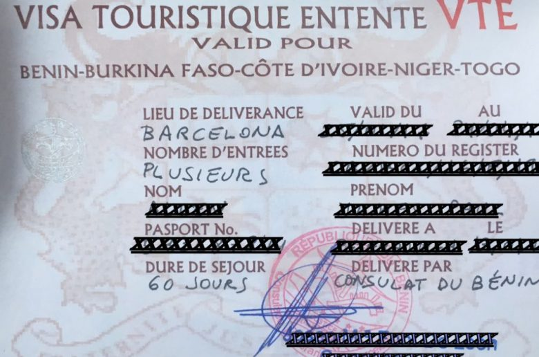 Visa Touristique Entente-VTE, West Africa Visa