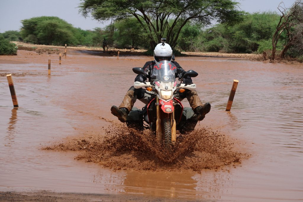 Lake Turkana road with motorcycle